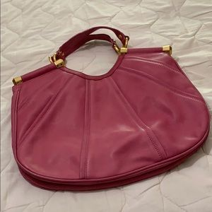 B makowsky leather hibiscus handbag.